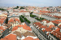 Lisbon and Rossio Square from the Santa Justa Lift Royalty Free Stock Photography