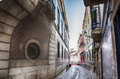 Lisbon s city street and buildings Royalty Free Stock Photos