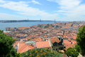 Lisbon skyline and tejo river lisbon portugal baixa district de abril bridge portuguese ponte de abril over from castelo de são Royalty Free Stock Photo