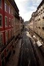 Lisbon street narrow in chiado district portugal Stock Photos