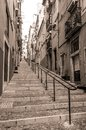 Lisbon street rua da prata in portugal on july it is one of the main streets of baixa pombalina it was built after the earthquake Royalty Free Stock Image