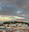Lisbon at sunset with copyspace, Portugal Stock Photos