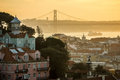 Lisbon at sunset seen from the senhora do monte mirador portugal Royalty Free Stock Photography