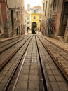 Lisbon tram railway Royalty Free Stock Photo
