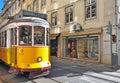 Lisbon yellow tram Royalty Free Stock Photo
