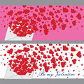 List miłosny z sercami valentines banners vector Zdjęcie Stock
