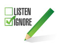 Listen or ignore check box illustration design over white Royalty Free Stock Photography