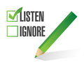 Listen or ignore check box illustration design over white Royalty Free Stock Photos