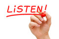 Listen Red Marker Royalty Free Stock Photo