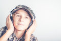 Listen to good music little funny boy Royalty Free Stock Photos