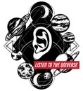 Listen to universe. Vector hand drawn illustration of human ear with planets.