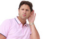 Listening carefully - Deaf - Hearing problems Royalty Free Stock Images