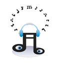 Listening music note illustration of a with center Royalty Free Stock Photos
