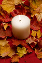 Lit candle sitting in dried maple leaves Stock Images