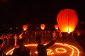 Lit lanterns to pray at on april china ya an earthquake occurred pictured students in order for the earthquake victims compatriots Royalty Free Stock Photo