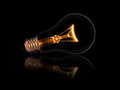 Lit light bulb on black background Royalty Free Stock Photo
