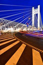 Lit suspension bridge - night scene Royalty Free Stock Photo