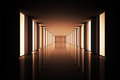 Lit up modern hallway Royalty Free Stock Images