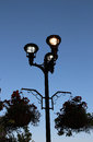 The lit up street lamp Royalty Free Stock Photo