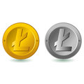 Litecoin digital currency lite coin illustration isolated in white gold and silver color Stock Images