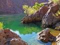 Liten vik på coloradofloden nedanför stenblockfördämningen nv Arkivbild