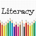 Literacy pencils represents train proficiency and develop indicating write educated kid Royalty Free Stock Photo