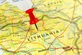 Lithuania map with pin close up of on a red Royalty Free Stock Image