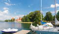 Lithuania trakai july wasserhiking on the lake on the yachts in popular attractions for tourists and locals alike Royalty Free Stock Photos