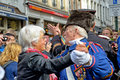 Lithuanian guests and tourists brussels belgium september celebrate on the street after ceremony of award of costume to manneken Royalty Free Stock Photography