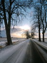 Lithuanian highroad in winter road going from silute to rusne lithuania Stock Image