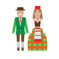 Lithuanian national dress illustration of costume on white background Royalty Free Stock Photos