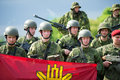 Lithuanian troops during public and military day festival vilnius lithuania may held by the white bridge on may in vilnius Royalty Free Stock Photo