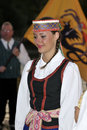 Lithuanian young lady, folklore dancers Royalty Free Stock Photos