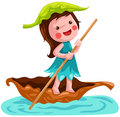 Litlle fairy sailing leaf boat Royalty Free Stock Photos