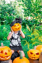 Litlle Girl Is Holding Hallowe...