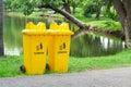 Litter bin in the park Stock Photo