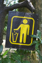 Litter the sign of bin at the public park that show the people to drop or garbage in the bin Royalty Free Stock Photos