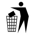 Litter sign figure of person throwing garbage into a trash can isolated on white background Royalty Free Stock Images