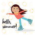 Little active cute girl on roller skates doing activity and saying hello summer the background with different icon of sun poster Royalty Free Stock Images