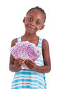 Little african girl holding hundred euro bills black peopl isolated on white background people Royalty Free Stock Images