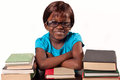 Little african school girl cute studying over white background Stock Image