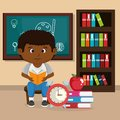 Little afro schoolboy with chalkboard Royalty Free Stock Photo