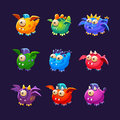 Little Alien Monsters With And Without Wings Set Royalty Free Stock Photo