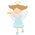 Little angel playing trumpet Stock Photo