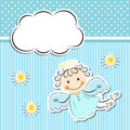 Little angel with stars and cloud editable vector illustration Stock Image