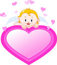 Little Angel and valentine heart Royalty Free Stock Images