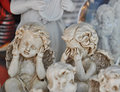Little angels ceramic white in the store window Royalty Free Stock Photo