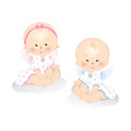 Little angels smiling boy and girl isolated on white background Royalty Free Stock Image