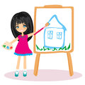 Little artist girl painting her dream house large paper canvas Royalty Free Stock Images