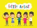 little artist, kids children with painting tools cartoon
